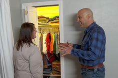 Lighting expert Scott Caron shows a homeowner how to brighten up a dark closet and never have to flip on a light switch Electrical Projects, Electrical Wiring, Closet Lighting, Unusual Homes, Old Farm Houses, Home Upgrades, Home Repairs, Small Storage, Closet Doors