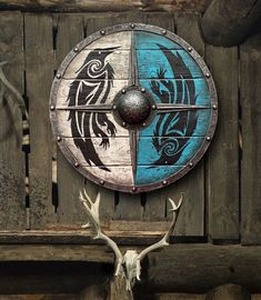 Escudo Viking, Viking Raven, Viking Art, Viking Decor, Assassins Creed, Viking Shield Design, Viking Wallpaper, Celtic Shield, Celtic Knot
