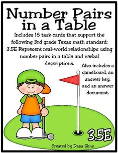 Includes 16 task cards that support the following 3rd grade Texas math standard: 3.5E Represent real-world relationships using number pairs in a table and verbal descriptions. Also includes a gameboard, an answer key, and an answer document. * Great practice for 3rd Grade Math, Grade 3, Staar Test, Task Cards, A Table, Classroom Ideas, Numbers, Relationships, Texas