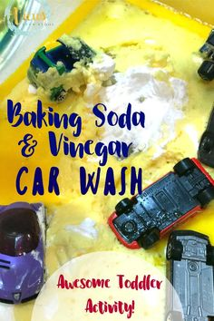 Erupting Kids Car Wash: Simple Science for Toddlers This simple science experiment combines baking soda and vinegar with pretend play, perfect for toddlers! An erupting kids car wash engages all the senses. Toddler Science Experiments, Science For Toddlers, Preschool Science, Toddler Activities, Sensory Activities, Childcare Activities, Sensory Play, Kindergarten Sensory, Senses Preschool