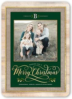 Simple Merry Monogram Christmas Card, Rounded Corners, Green