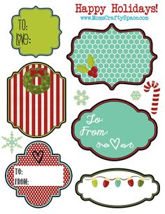Free Printable Christmas Holiday Tags ~ Mom's Crafty Space