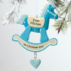 Rocking Horse 1st Christmas© Personalized Ornament-Blue