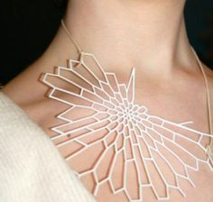 Nervous System 3-D printed necklace.Join the 3D Printing Conversation: http://www.fuelyourproductdesign.com/