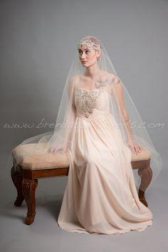 Rhinestone Juliet Cap Veil, Great Gatsby Bridal Veil, 1920s Inspired Wedding Veil - Sasha