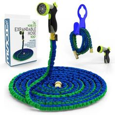 The Hose Co Expanding Garden Hose Kit Green, Blue Double Latex KinkProof Long-Lasting 75 ft Hose, Copper Fittings, 8 Function Nozzle & Bonus Wall Hook Water Garden, Garden Hose, Portable Tv, Water Hose, Handmade Leather Wallet, Brass Fittings, Amazing Gardens, Wall Hooks, Coloring Books