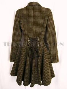 TOPSHOP VINTAGE CORSET RIDING COAT TWEED VICTORIAN 40s WAR BRIDE LADY CHATTERLEY