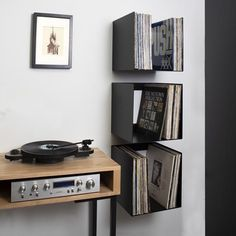 Vinyl Storage Cube Shelf - This sturdy metal shelf will store up to 100 of your favourite LPs in minimalist style and is avail - Cube Shelves, Metal Shelves, Vinyl Storage, Cube Storage, Lp Regal, Vinyl Record Shelf, Record Wall, Vinyl Room, Vinyl Wall Decor