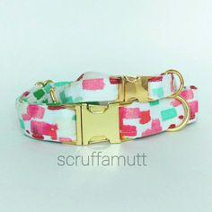 Watercolor Dog Collar / Modern Dog Collar / by Scruffamutt on Etsy