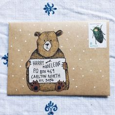Mail Art with Free Templates -cute idea for paper crafts. I can't believe this person took the time to draw a bear and handletter the address on this envelope design! Envelope Art, Envelope Design, Envelope Templates, Envelopes Decorados, Mail Art Envelopes, Special Letters, Pen Pal Letters, Letters Mail, Fun Mail