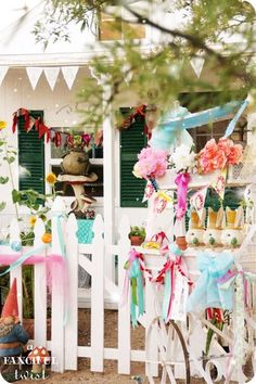 allow the girls to decorate with crepe paper, balloons ... however they see fit.