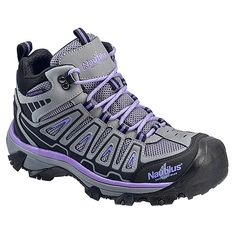 The lowcut silhouette allows for a full range of motion in the Nautilus Safety Footwear 2251 Steel Toe WP EH Athletic shoe, while a thick, oil-resistant rubber outsole ensures durable grip over rough terrain. Steel Toe Shoes, Steel Toe Work Boots, Hiking Boots Women, Cowboy Boots Women, Logger Boots, Cool Boots, Rain Boots, Women's Boots, Comfortable Shoes