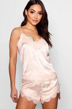 8b6bdf3c8ab Eyelash Lace Trim Cami   Short Set. Short SetVintage UnderwearUnderwear Shop Sexy DressesSatin DressesNightwearCamisole OutfitCamisole TopPretty Lingerie