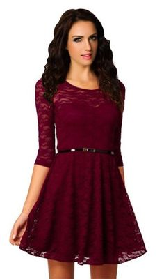Ninimour- Women's Spoon Neck 3/4 Sleeve Lace Skater Dress Belt (XL, GC6195cl) Ninimour http://www.amazon.com/dp/B00M6HBH4S/ref=cm_sw_r_pi_dp_6rFgub18QQP1C