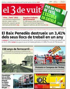 Portada d'El 3 de vuit del 7 de desembre del 2012 - Baix Penedès