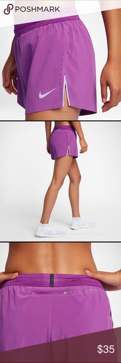 New Nike Aeroswift women's running shorts Hot Pink Brand new with tags. Nike Hot Pink women's running shorts. Original $80  Super cute and like all Nike products comfortable. Picture with the purple shorts are the same kind of shorts, just different color (just for modeling purposes) Nike Shorts