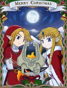 Merry Christmas!  Link, Zelda & Midna Santa