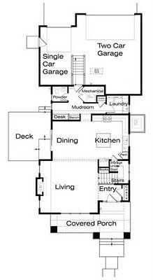 Plano de casa de 2 pisos, 3 habitaciones en 183 metros cuadrados | Planos de Casas