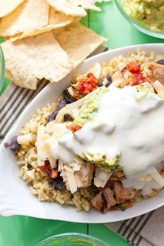 Grilled Fajita Chicken Burrito Bowls w cilantro lime rice