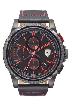 Scuderia Ferrari 'Formula Italia' Chronograph Leather Strap Watch, 46mm