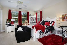 love it! Red black and white kids bedroom