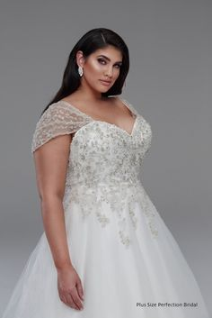 Beaded princess plus size wedding dress from Plus size perfection bridal.
