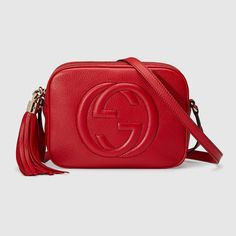 Soho small leather disco bag - Gucci Purses - Ideas of Gucci Purses - Shop the Soho small leather disco bag by Gucci. A compact shoulder bag with a leather tassel zipper pull. Sized to fit the necessities. Made in our light natural grain leather. Gucci Disco Bag, Soho Disco Bag, Gucci Soho Disco, Red Shoulder Bags, Gucci Shoulder Bag, Shoulder Handbags, Leather Shoulder Bag, Shoulder Strap, Red Purses