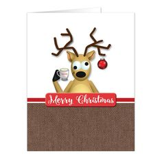 Cute and funny Christmas cards with an illustration of a tipsy reindeer with a Christmas bulb hanging from its antler, holding a cup of eggnog.
