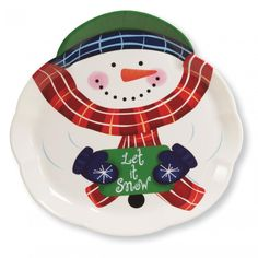 (12/case) Molded Plastic Tray 14 Inch Snowman