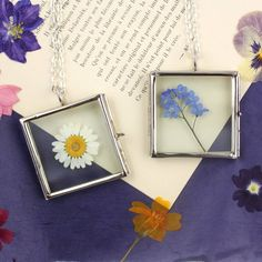 Square Glass Locket With A Pressed Flower from notonthehighstreet.com
