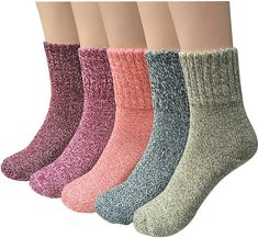 Pack of 5 Womens Wool Socks Cold Weather Vintage Soft Warm Socks Thick Knit Cozy Winter Socks for Women Gifts For Dog Owners, Dog Mom Gifts, Bridesmaid Socks, Womens Wool Socks, Women Socks, Ladies Socks, Cooler Stil, Cozy Socks, Cabin Socks