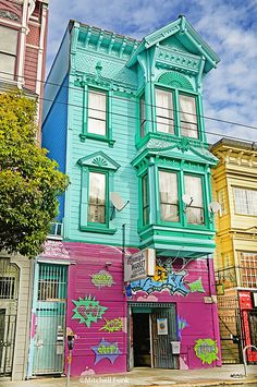 Green Victorian House In Haight Ashbury, San Francisco By Mitchell Funk www.mitchellfunk.com