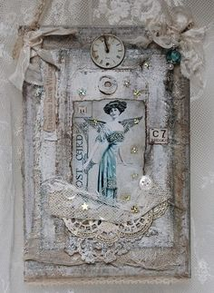 Shabby Chic Inspired. What this lady does with lace is stunning!
