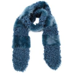 Shrimps Marnie Fur Scarf (1 175 PLN) ❤ liked on Polyvore featuring accessories, scarves, kirna zabete, world of shrimps, fur shawl, blue shawl, fur scarves and blue scarves