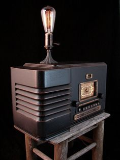 Upcycled Vintage Radio with LEDs and Bluetooth by BenclifDesigns