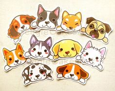 Cute Dog Stickers Set of Kawaii Puppy Dog Stickers, Erin Condren Planner, Animal Stickers, Gift for Dog Lovers, Pug and Beagle Stickers Cute Puppies, Cute Dogs, Dogs And Puppies, Morkie Puppies, Poodle Puppies, Kawaii Stickers, Cute Stickers, Dog Illustration, Illustrations