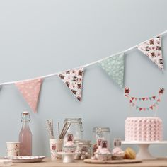 Stylish party supplies for all kinds of event! Baby showers, hen party accessories, tea party decorations and much more - with free delivery over Owl Bunting, Fabric Bunting, Paper Owls, Owl Fabric, Tea Party Decorations, Hen Party Accessories, Summer Parties, 2nd Birthday Parties, Girl Nursery