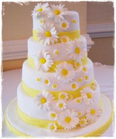 Fondant Covered Daisy Wedding Cake  on Cake Central