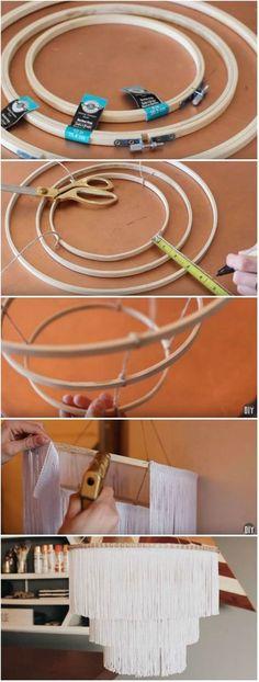 DIY Boho Fringe Pendant Light