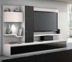 Linea, Credenza with storage unit and left curio, Home theater furniture collection from JSP Industries