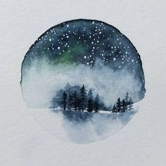 Tiny forest with night sky. This is the one I started painting in the most recent video posts. I think it's missing some color at Night Sky Painting, Forest Painting, Kunst Inspo, Watercolor Christmas Cards, Art Watercolor, Guache, Art And Illustration, Christmas Art, Painting & Drawing