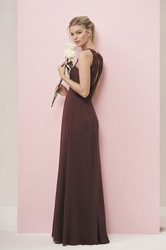 b3c74665117f P196052 Long Jewel Neckline Georgette   Lace Bridesmaid Dress
