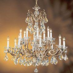 Classic Lighting Via Firenze 16 Light Crystal Chandelier Crystal Type: Swarovski Elements, Finish: Millenium Silver