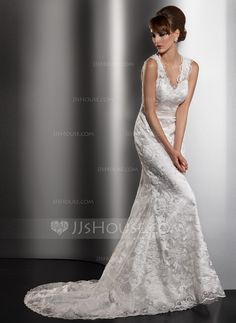 Trumpet/Mermaid V-neck Court Train Charmeuse Lace Wedding Dress With Bow(s) (002013766)