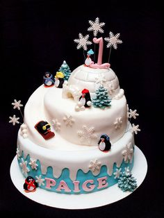 Penguin Party Cake - For all your cake decorating supplies, please visit craftcompany.co.uk