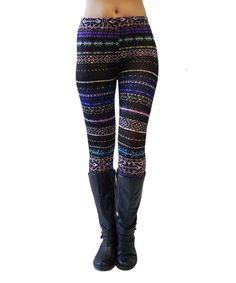Look at this #zulilyfind! Purple Geo Stripe Leggings by Super Nova #zulilyfinds