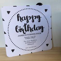 Baby First Birthday, 21st Birthday, Birthday Invitations, Invites, Triangle Square, Christening, First Birthdays, Rsvp, Monochrome