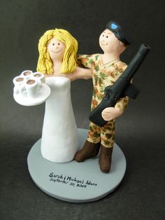 M16 Marine Wedding Cake Topper    Soldier in Camouflage Wedding Cake Topper custom created for you! Perfect for the marriage of a Army Marine Groom in Camouflage Uniform and his Bride!    $235   #magicmud   1 800 231 9814   www.magicmud.com