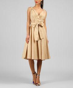 This Beige Polka Dot V-Neck Dress is perfect! #zulilyfinds