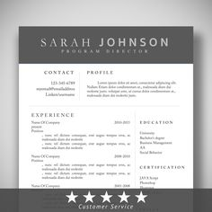 Instant Download Elegant Cv Resume Template  Coverletter